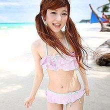 韩国可爱女士学生少女比基尼裙式分体泳装 小胸最爱俏皮粉格泳衣