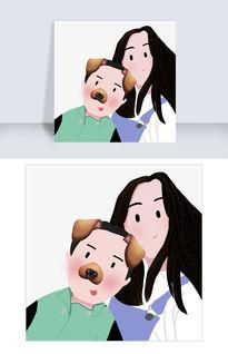温馨亲情母亲孩子可爱手绘天真图片素材 其他格式 下载 动漫人物大全