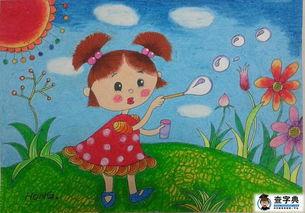 ...泡泡的小女孩,人物儿童画教师范画