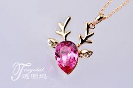 我要桃花朵朵开 可爱粉色水晶梅花鹿项链 韩国首饰品女短款锁骨链