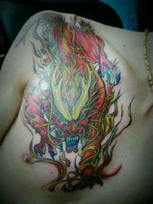 孽龙刺青-好看的半甲纹身图案 龙 或者 麒麟 我要图片