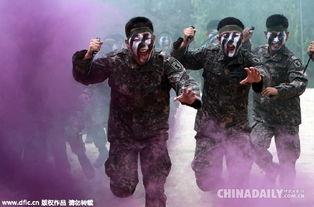 ...兵在练兵场参加特工武术训练.(图片来源:东方IC) 韩国于8月10...