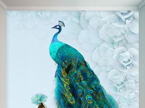 3D精美蓝孔雀卧室壁画背景墙图片设计素材 高清psd模板下载 102.57...