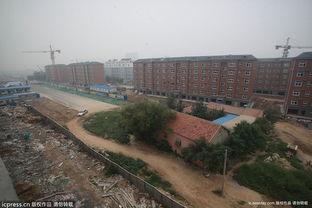 ...东营垦利县康居小区北边,一房屋耸立在一条新建好的公路中央,把...