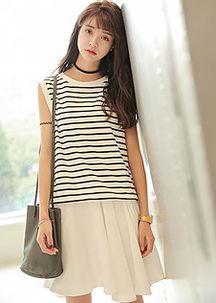 条纹T+吊带连衣裙套装-夏季大码时尚女装