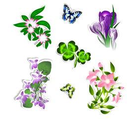 花卉与蝴蝶剪纸矢量素材