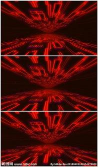 红色科技霓虹隧道穿梭前进