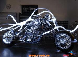 哈雷骷髅摩托车 美国骷髅摩托 个性骷髅摩托3d模型