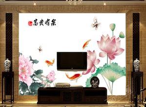 电视客厅沙发背景墙瓷砖背景墙富贵有余图片设计素材 高清psd模板下...