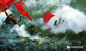 江口成了弄潮儿大显身手的赛场.他们个个披头散发、挥舞红旗,在风...