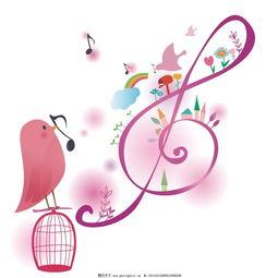 卡通音符-歌唱的鸟高清大图