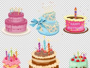 可爱卡通生日蛋糕PNG透明设计元素
