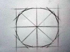 用曲线把近似圆画成圆形.   扩展资料:   初步学习素描,你必须先学...