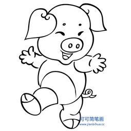 小猪简笔画图片 可爱