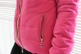 河南大红缎子棉袄-...领多重拉链玫红棉衣