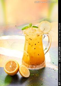 百香果柠檬绿茶,酒水饮料,食品餐饮,摄影,汇图网