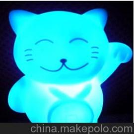 招财猫LED七彩发光渐变梦幻小夜灯 可爱卡通节能灯