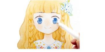 可爱小女孩的绘画过程