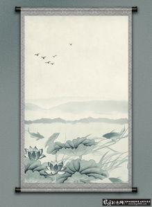 背景素材 大气国画背景 荷花 卷轴 水墨画背 堆糖,美好生活研究所