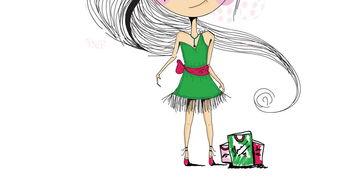 时尚美女手绘小姑娘可爱女孩