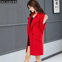 ...2015 女装中长款风衣 韩版修身双排扣 外套女式风衣