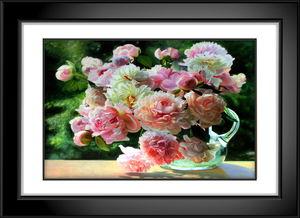黑白画框花卉静物高清油画