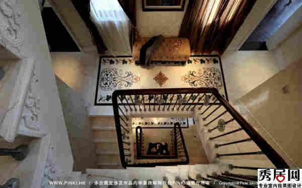 别墅三层楼楼梯走廊黑色瓷砖拼花 造型 设计图