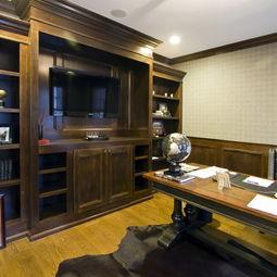 ...017美式风格小户型豪华办公室书房书柜装修效果图-豪华办公室图片