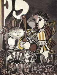 怡红院免费九九色色-毕加索油画《两个小孩》,是一九五○年六十九岁的毕加索为三岁的儿...