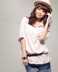 AN 10029粉色 二色入内 韩版休闲 舒适柔棉素色配腰带长版衬衣 伊格丽