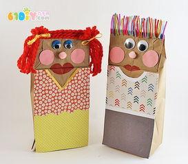 纸袋手偶的制作方法