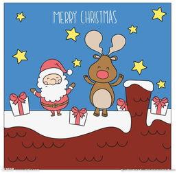 垂头丧气火柴人创意设计-手绘圣诞老人和驯鹿插图图片