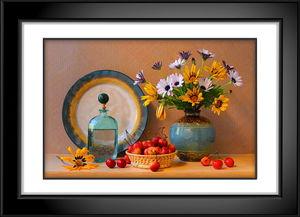黑白画框花卉静物
