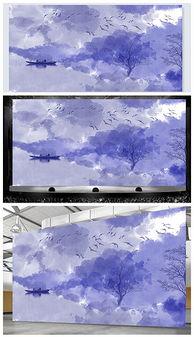 高端大气蓝色飞鸟中式舞台背景psd格式设计模板-PSD瑞设计 PSD格...
