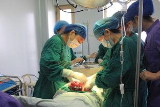 图解:妇科专家杨雪云副主任等几位手术医生在为尹女士实施子宫肌瘤...