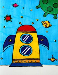 火箭飞船简笔画 火箭飞船图片欣赏 火箭飞船儿童画画作品