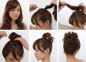 ...丸子头扎法步骤图解 浪漫甜蜜发型