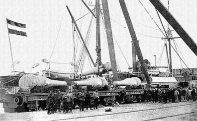 图为1893年清国为装备旅顺、威海卫海军基地,在德国订造的28厘米...