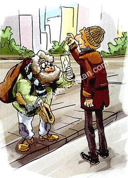 ...,贝尔纳走到老乞丐身边,从钱包里掏出一张大额钞票,老乞丐一...