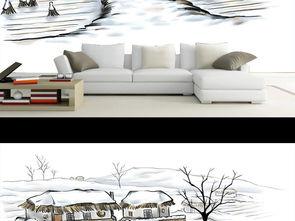 家乡的简单素描-故乡的雪手绘乡村风景唯美简约水彩画背景墙