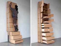 节省空间的楼梯架地板到天花板的存储