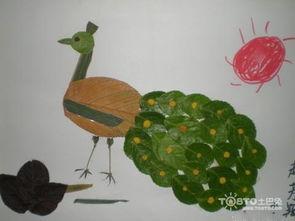 怎么用各类树叶制作孔雀贴画?