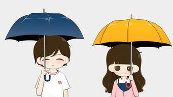 雨伞潮流逗比情侣头像一对-雨伞