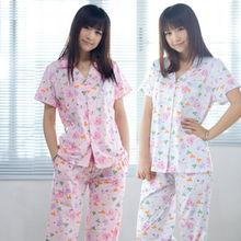 ...11新款夏秋装女纯棉睡衣睡裤套装 短袖长裤家居服
