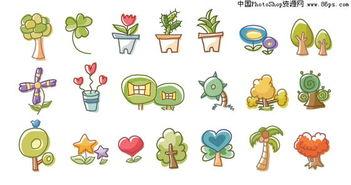 AI格式韩国绿色植物卡通矢量元素免费下载
