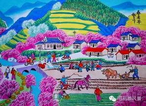描写力与美的美句-户县农民画的表现手法有着明显的地域特色,它以大红大紫的色彩,...