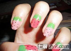 法式DIY美甲教程图片 甜美简约糖果色草莓指甲 图
