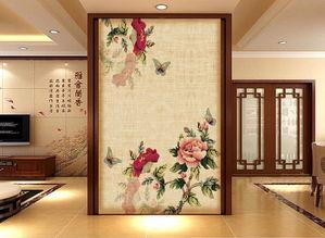 客厅电视背景墙瓷砖背景墙简约赏牡丹花