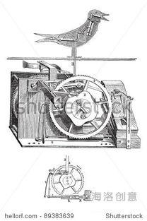 老刻插图的布谷鸟钟内部孤立在白色背景 工业E. O百科全书 出席 1875 ...