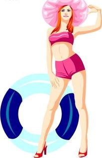 穿泳衣带帽子的卡通美女